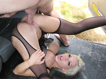 FakeTaxi : Deepthroat Gagging MILF Gets Facial – Barbie Sins